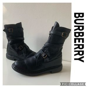 BURBERRY Moto Combat Boots Leather size 8 37.5